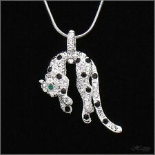 Animal Panther Leopard 18K WGP Pendant Necklace Charm Crystal Black Clear New 6