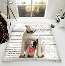 English Bull Terrier & Frenchie Pal Luxury Fleece Blanket Throw Dog Lovers Gift