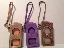 Designer Coach Gold Metallic Leather Apple Ipod Nano Wristlet Case Lot