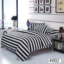 Black & White Stripes Cotton Comfort Queen Duvet Cover Soft Bedding Cover Fine L