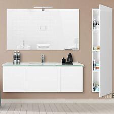 Mobile lavabo sospeso 123cm bianco laccato lucido con colonna bagno moderno