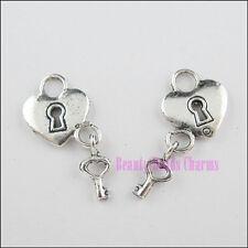 20Pcs Tibetan Silver Tone Heart Lock-Key Charms Pendants