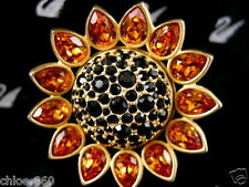 SIGNED SWAROVSKI SUNFLOWER CRYSTAL PIN  BROOCH 22KT GOLD PLATING RETIRED NEW