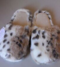 PB Teen Pottery Barn Fur Ever Yours Fur Leopard Slippers Size Medium - Brand NEW