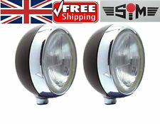 "NEW SIM STAINLESS STEEL CHROME 7"" CIBIE OSCAR H4 SPOT/DRIVING/FOG LAMPS/LIGHTS"