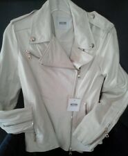 NEW WOMEN MOSCHINO  CHEAP AND CHIC RA 3703 MOTORCYCLE LEATHER  JACKET IVORY SZ10