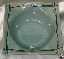 STUDIO NOVA MIKASA MYSTIC COVE GREEN SQUARE RIM SOUP BOWL 24 OZ DARK GREEN LINES