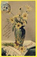 cpa Dos 1900 BOUQUET de MARGUERITES dans Vase Art Nouveau DAISIES GÄNSEBLÜMCHEN