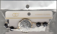 """Bracelet, Cross Medallion With Black Marble Beads, 4"""" Stretchable, Brand New"""