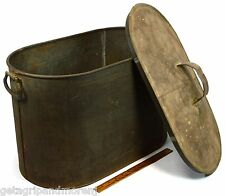 Antique KREAMER TIN & COPPER CONTAINER Ice Tub? DOUBLE HANDLES w/ Original Lid!