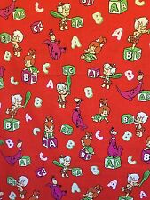 VTG 1991 Fabric Flintstones Pebbles Bam Bam Dino Fabric 2 Yards Material