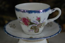 VINTAGE JAPANESE IRIDESCENT BLUE TRIM ROSE DECORATED DEMITASSE CUP AND SAUCER