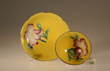 Shafford Yellow with Handpainted Pink Rose  Cup and Saucer, Made In Japan