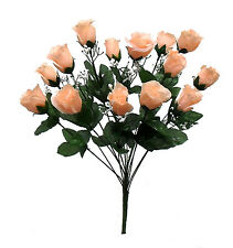 14 Long Stem Roses ~ PEACH ~ Silk Wedding Flowers Centerpieces Bridal Bouquets