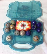 Lot of 13 Bakugan Battle Brawlers in a case W 5 Magnet Cards 5 paper cards Work