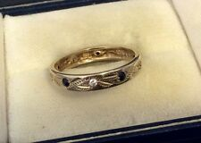 Pretty Ladies Hallmarked Vintage 9ct Gold White Stone & Sapphire Eternity Ring