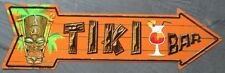 plaque publicitaire fleche tiki bar orange 44cm tole metal pub usa neuf a-173