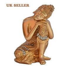 ST GOLD DHYAN POSE BUDDHA STATUE IN RESIN RESTING BUDDAH STATUE ORNAMENT UK