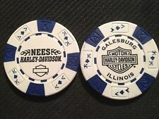 "Harley Davidson Poker Chip (White & Blue) ""Nees"" Galesburg, Illinois"