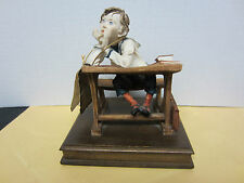 Vintage Capodimonte Figurine of a Boy Daydreaming At is School Desk