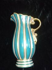 Vintage Wade Empress green and gold water jug vase c.1960's