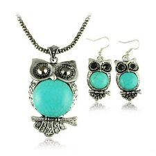 Genuine Turquoise  Large Owl Pendant Necklace and Earrings Set Gift Boxed