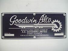 REPLICA GOODWIN ALCO BUILDERS PLATE
