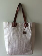 BETTY JACKSON real leather white perforated tote shopper handbag