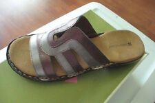 NATURALIZER Pierre-Moda Bronze Leather Slides Sandals 9 W Wide Width NEW BOXED