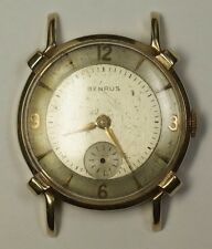 Vintage Benrus 14K Solid Yellow Gold BB4 AXZ 17J  Swiss Watch Parts Repair Fancy