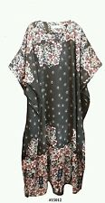 Ladies Chiffon black  Floral Border Print Long Kaftan/holiday/beach wear 10-32