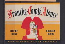Ancienne étiquette Bière Alcool France Franche Comté Alsace Femme