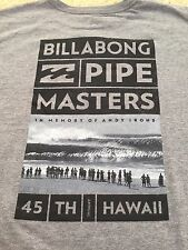 NWT-BILLABONG PIPE MASTERS 2015-NORTH SHORE PIPELINE HAWAII-ANDY IRONS L GRAY T-