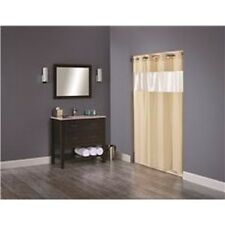 Arcs & Angles 194138 Hookless Shower Curtain With Clear Window Beige NEW