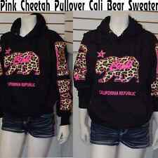 Cali Pullover Sweater Hoodie,Pink Cheetah/Leopard w/California Republic Arms 2XL