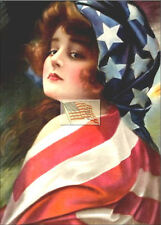 REPRINT PICTURE of older print VICTORIAN WOMAN WRAPPED IN USA FLAG 5x7