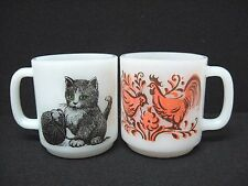 Vintage Lot 2 GLASBAKE milk glass COFFEE mugs ROOSTER HEN CAT