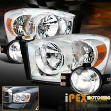 2006 2007 2008 Dodge Ram 1500 2500 3500 Chrome Headlights + FULL Fog Light Kit