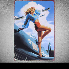 Sexy Lady Stand Up Tin Poster Vintage Metal Sign Bar Beer Wall Decor Plaque G15