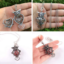 Fashion Owl Locket Pendant Necklace Perfume Fragrance Diffuser Jewelry Gift