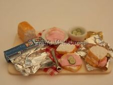 Dolls house food: Wrapping ham & cucumber sandwiches prep board -By Fran