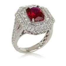 JEAN DOUSSET 7.7CT ABSOLUTE CREATED RUBY OCTAGON STERLING SILVER RING SIZE 7 HSN