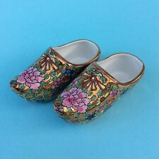 VINTAGE MINIATURE SHOES JAPAN IMARI HandPainted Gold Red Green Decorative Signed