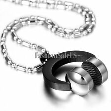 Hot Mens Black Silver Stainless Steel DJ Music Necklace Chain Headphone Pendant