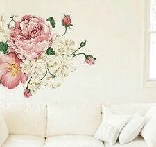 NEW SHABBY CHIC REMOVABLE WALL STICKER VINTAGE BEDROOM LOUNGE FLORAL ROSE