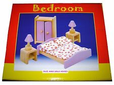 DOLLS HOUSE PINK FURNITURE BEDROOM  ROOM SET, WOODEN, 12th SCALE, JULIE ANNS