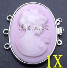30*40mm pink Shell Cameo Beauty 3 Strands Clasp-G122