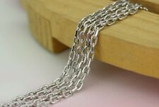 FINE 21.5INCH 18K White Gold Necklace Cable Chain /3.50g S
