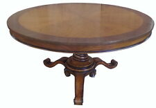 Solid Mahogany Dining Table with Flame Walnut Veneer Seats 4-6 Antique Repro