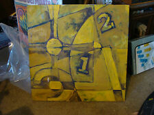 Original OIL PAINTING: abstract clock w/ 1 & 2, in YELLOW & BLACK, 36 x 36 inch